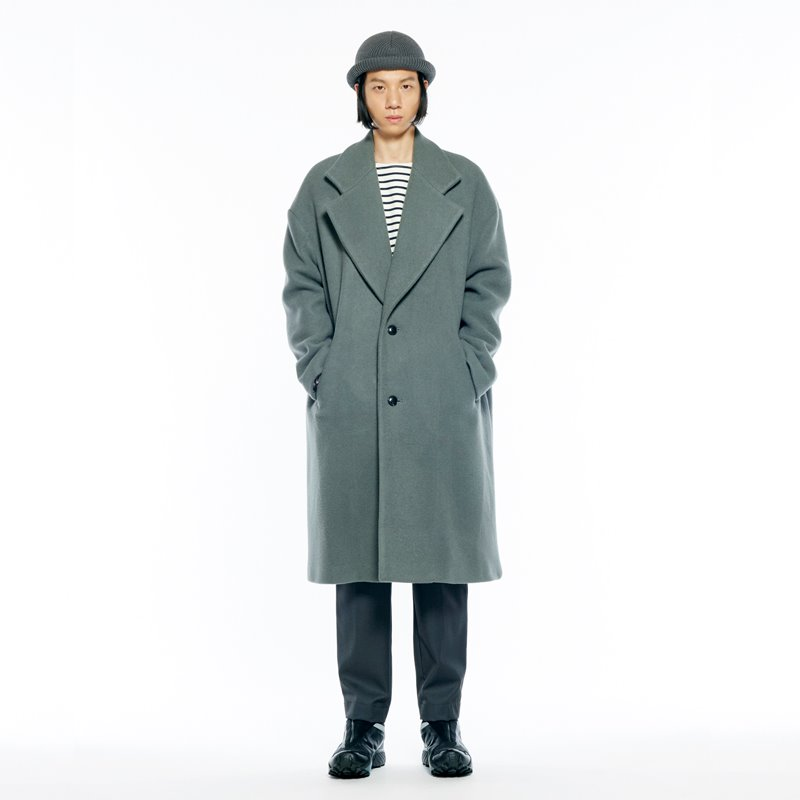 ROOMY WOOL OVER COAT-all soft (ASHLEY BLUE)