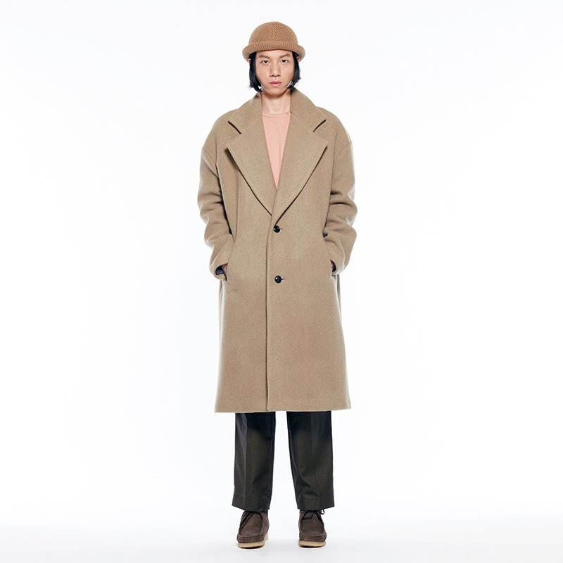 ROOMY WOOL OVER COAT-all soft (SAND)